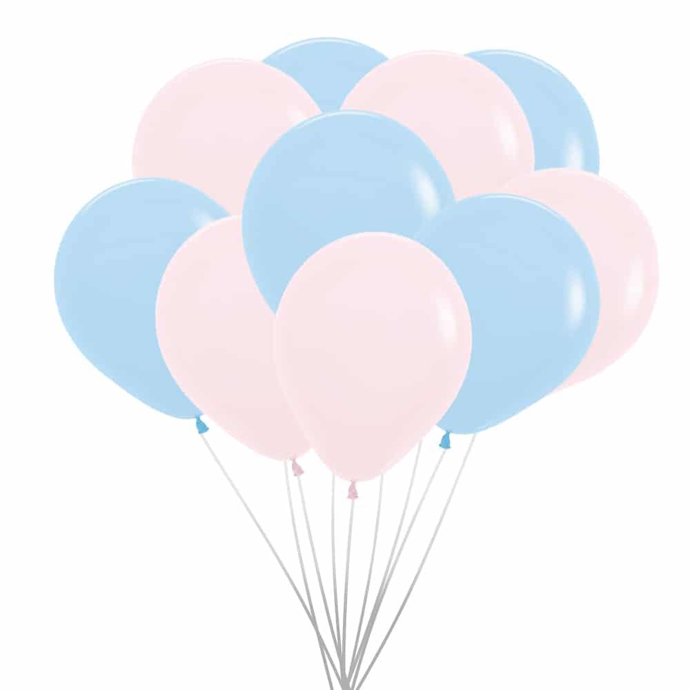 roze en blauwe pastel ballonnen