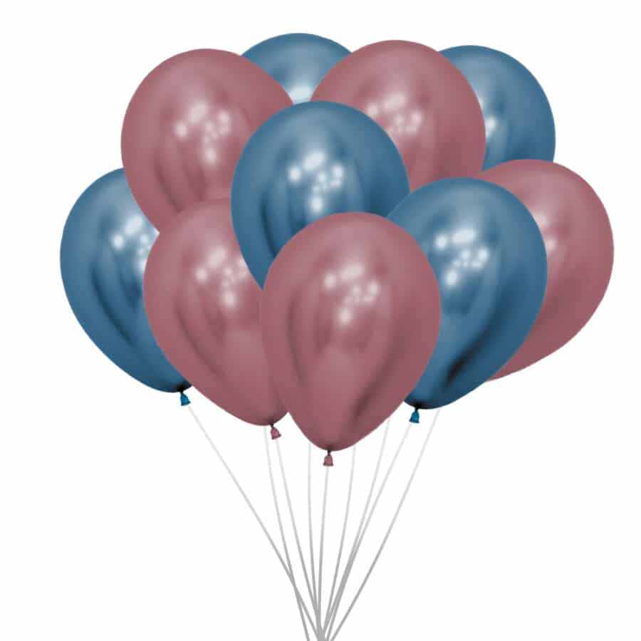 metallic roze en blauwe ballonnen