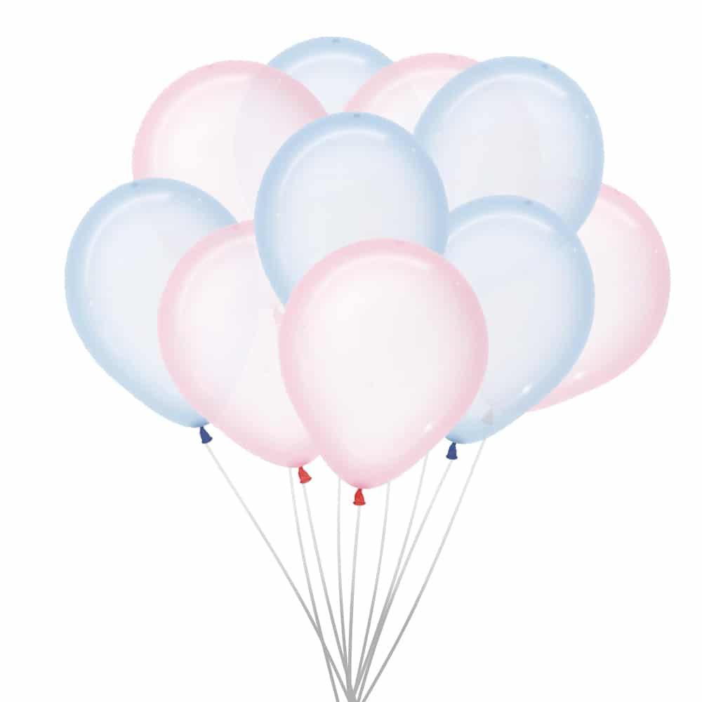 roze en blauwe ballonnen transparant