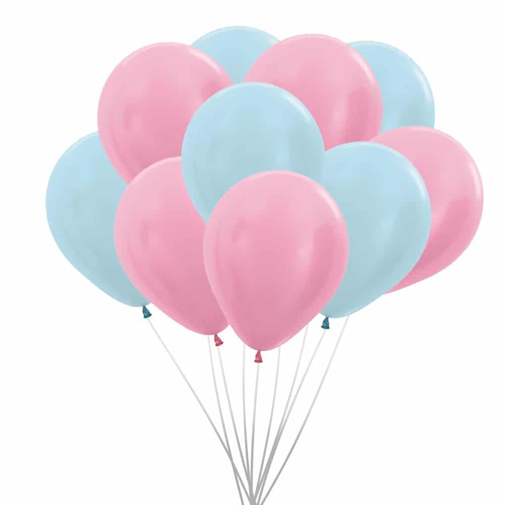 ballonnen roze en blauw pearl