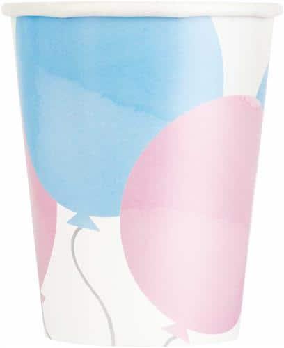 bekers roze en blauw